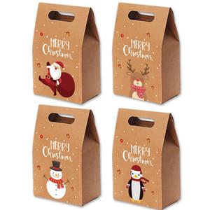Bolsas de regalo de Navidad Navidad Vintage Kraft Papel Caja de manzana Caja de caramelo Fiesta Bolsa de regalo envuelto Mano Envuelto Paquete Decoración Favor Supplies LJJP427