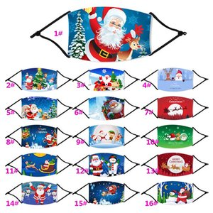Fashion Christmas Masks Deer Printed Xmas Face Masks Anti Dust Snowflake Xmas Mouth Cover Washable Reusable With Filters 87 Styles HH9-3233