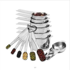 13 paquete de tazas de medir y cucharas Set líquido taza de medición o en seco Copa Conjunto inoxidable de las tazas de anidación Copa de cocina para hornear Herramientas EWE752