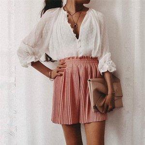 Tasarımcı Tshirts Moda Gevşek Perspektif Uzun Kollu Bayan Guaze Tees Casual Dişiler Giyim Nokta Baskı Kadın