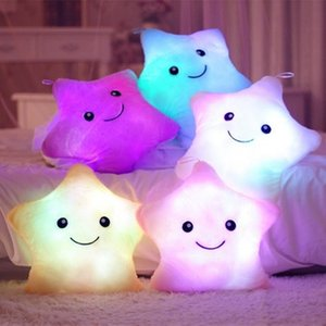 Luminous Pillow Star Moon Cushion Colorful Glowing Pillow Plush Doll Led Light Toys for Girl Kids Birthday Bedroom Decoration LED Light Toys