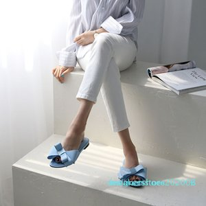 real silk butterfly-knot slippers woman fashion brand design mules shoes summer riband bow knot slides woman flip flops d02