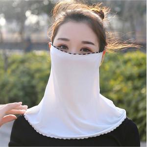 Las mujeres velo pañuelo de gasa de protección solar cuello de la cara delgada máscara de seda del hielo de la máscara del oído collar Riding transpirable Máscara facial de arena Prueba de toallas LJJP268