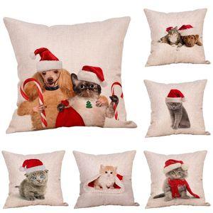yastık Vaka 45 * 45cm 9style T500287 ile YENİ Noel Dekorasyon Noel yastık Vaka kedi ve köpek baskı basit kanepe