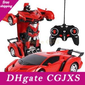 1: 18 تحويل الروبوت لعب السيارة الكهربائية التحكم عن بعد Car1 زر التحكم عن بعد تشوه سيارة روبوت للحصول على هدايا للأطفال