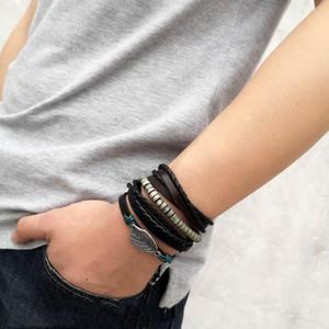 3pcs set Multiple Layers Leather Bracelet Set for Men Women Charm Leaf Feather Stone Wood Beads Wrap Bracelets Pulseras