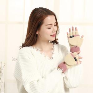 Nouveau cadeau de Noël usine de gros gants d'hiver au chaud flip molleton demi Gants doigts A14