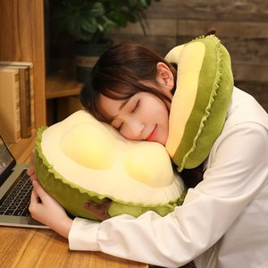 Cartoon Short Plush Durian Orange Waist Back Cushion Pillow Super Soft Stuffed Neck Pillows Fruit Adult Student Crossbody Bag