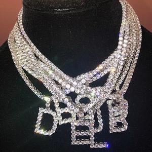 Designer colar de cristal de cristal de cristal fora cadeia colar inicial 45 cm comprimento cadeia letra mulheres homens rocha hip hop bling jóias 26 letras