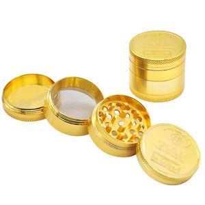 De metal de liga de zinco tabaco Herb Grinders 4 camadas de metal Herb Grinders Sharpstone Tobacco Grinders Big ouro fumadores Grinder BH3978 TQQ