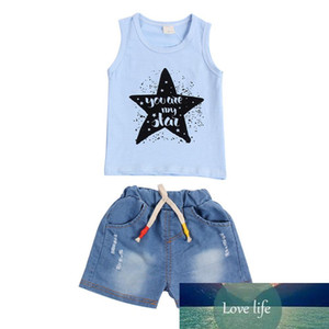 Summer Baby Clothes Set Boys Girls Pentagram Print Sleeveless Vest + Short Jean Outfits Casual Children Clothing Set