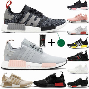 With Socks Stock Tag X NMD R1 runner men women running shoes blanch blue glow raw pink triple white black europe exclusive Trainers Sneakers