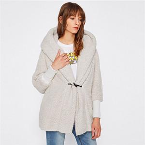 Женщины Зимняя куртка Мода нагрудные шеи длинным рукавом с капюшоном Пальто овечьей шерсти Теплое пальто Зимняя одежда женщин