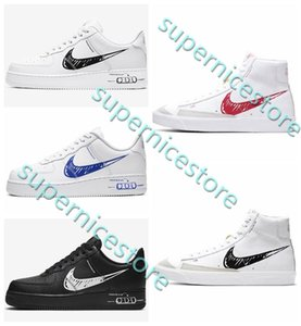 Nike air force 1 AF1 X Nike blazer 2020 1 Blazer Low Mid 77 Sketch Swooshs Pack SCHEMATIC High Low Men Women 1s Schematic White Black Red Casual Shoes CW7580-100