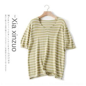 HiehA 1fpYn contraste Yangmei 2020 été nouveau style coréen à manches courtes femmes rayé à encolure en V couleur magasin T-shirt lâche décontracté pour le haut pullov