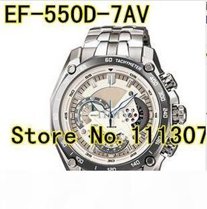 도매-EF-550D-7AV 새로운 남자의 화이트 다이얼 스포츠 시계 EF-550D EF 550D 화이트 1 20 스톱워치 진자 기능과 함께 손목 시계 다이얼