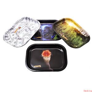 4 Styles Honeypuff Plateau tabac à rouler en métal 18x14CM USD Rouleau dolaire mains en rouleau Tin Case Spice Plate DHL