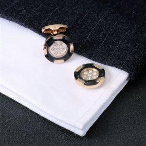 msVSr Алмазных Запонок французских манжеты высокого качества французских кнопки рубашки Две кнопки кнопка Кристалла Tone Кристалл манжеты
