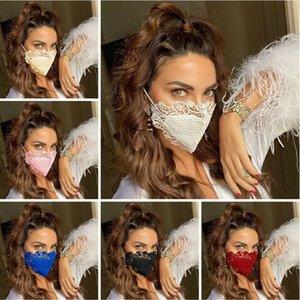 Мода защитной маска ветрозащитной пыли доказательство дышащий хлопок Ткань маска моющегося многоразовое кружево маска для лица Маски конструктора T9I00485