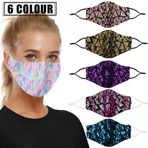 Irregular Lantejoula Máscara Facial colorido Lantejoula Moda Máscara Máscara lavável reutilizável Dustproof Bling Bling pode filtrar Inserir PM2.5