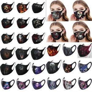 2020 Nuevos Estilos linda de 31 máscaras del partido de Halloween Máscaras reutilizables y lavables adultos algodón de la cara 3D Impreso fantasma cráneo Jolly máscaras de terror FY9185