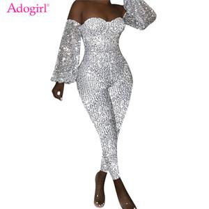 Adogirl Kadınlar Seksi Kapalı Omuz Sequins Tulumlar Straplez Uzun Fener Kol Skinny Romper Gece Kulübü Parti tulumları Kıyafetler T200808