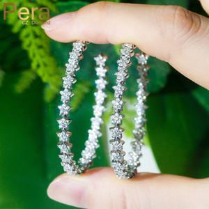 Pera Romântico Brilhante CZ Stone elegante Cor Prata Big laço Círculo Lucky Star Fazer a ligação Hoop brincos para o E512 Jóias Mulheres casamento
