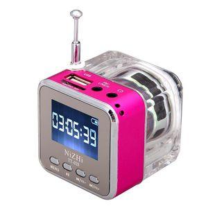 Nizhi 고작 -028 미니 스피커 6 개 색상 디지털 휴대용 음악 MP3 플레이어 마이크로 SD / Tf를의 USB 디스크 스피커 FM 라디오 LCD 디스플레이 무료 DHL