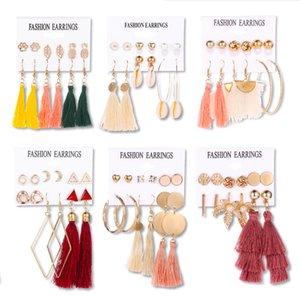 10 set di cerchio della vite prigioniera orecchini gioielli di moda Designer Love Gift fascino variopinto Shell della perla della stella della luna Ananas nappa ciondola orecchini