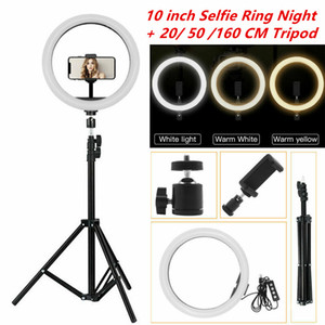 "10"" LED Light Ring photographique selfie d'éclairage Bague avec support pour Smartphone Youtube TikTok Makeup Video Studio Trépied Annulaire"