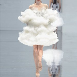 New Haute Couture Short Prom Dresses 2020 New Ruffled Tulle Off White Cocktail Dress Short Layered Tiered Chic Women Party Gowns