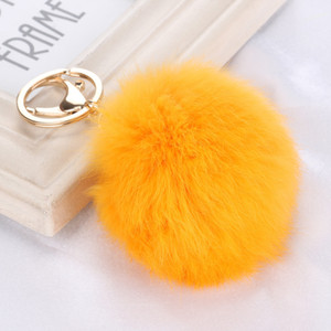 Rabbit Fur Ball Keychain Soft Fur Ball Lovely Gold Metal Key Chains Ball Pom Poms Plush Keychain Car Keyring Bag Earrings Accessories