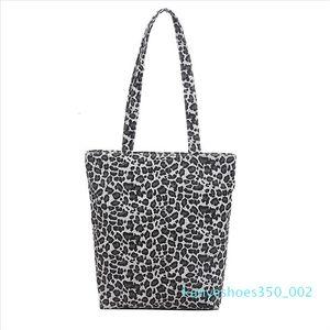 Women Canvas Tote Casual Coconut Tree Leopard Printing Shopping Bag Ladies Large Capacity Messenger Bag Handbag k02