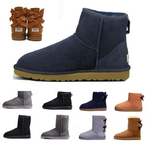 2020 Schnee-Winter-warme Stiefel Leder Frauen Grau Klassische knien Hälfte Lange Stiefel Ankle Schwarz Grau Kastanie Bailey Bow Womens Mädchen Brown
