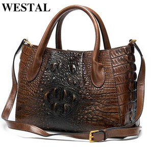 femmes sac à main en cuir véritable des femmes Westal dames sac sacs à main motif crocodile sacs fourre-tout-poignée concepteur porte-documents femme