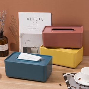 Wooden Cover PP Tissue Boxes Simple Innovative Napkin Holder Case for Office Home Extract Bins Storage Container Napkin Box