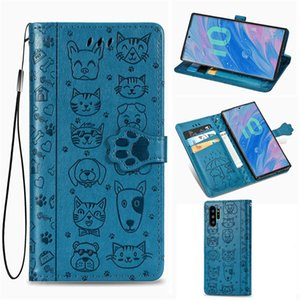 Case for Samsung Galaxy Note 10-Pro PU Leather Cover Cute Cat and Dog Anti-skid Concave and Convex Surface( Model:NOTE10PRO)