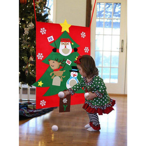 Christmas Toss Games with 3Pcs Snowballs DIY Felt Christmas Tree New Year Gifts Kids Throw Toys Decoration for Home