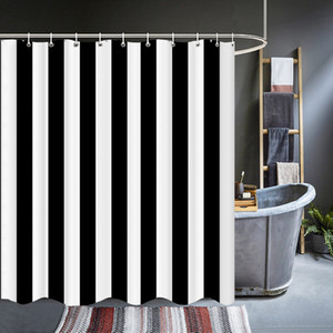 Modern Black White Stripe Geometry Shower Curtains Waterproof Bathroom Bath Curtains 3d With Hooks Personality Washable Cloth