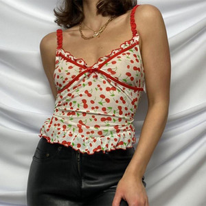 Cherry напечатанных Ruched Y2K Симпатичные Обрезанные Tops лета женщин Bow рукавов Эстетическая Top Sexy Tee Тощий 90-ых бретели