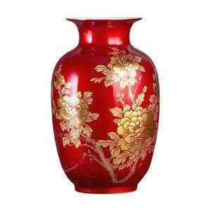 Новый китайский стиль Vase Цзиндэчжэнь Классический Фарфор Кристалл Глазурь Цветочная ваза Главная Декор ручной работы Сияющий Famille Rose Вазоны