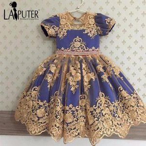2020 New Gold Lace Blue Luxury Princess Cute Vintage Lovely Flower Girl Dresses Baby Party Dress Laiputer