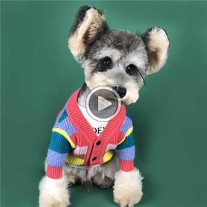 Pet Datum Pullover Regenbogen-gestreifte Mäntel für Hund Teddy Welpen Bulldog Bekleidung Herbst-Winter-Mode Warm Sweatshirts Steve K9JQ