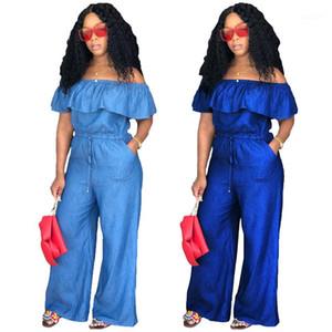 Designer Female Jumpsuit Sexy Slash Neck Rompers Solid Color Wide Leg Pants Woman Designer Luxury Clothes Fashion