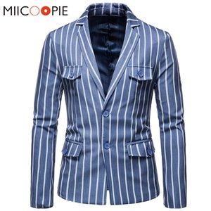 Lujo de los hombres chaqueta de rayas Slim Fit Imprimir hombre de negocios Traje Masculino Terno Blazers 2020 Marca Casual Jaquetas Homens Terno 5XL