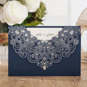 50pcs WISHMADE Marine-Blau-Laser-Cut-Spitze Flora Hochzeits-Einladungen Karten mit Strass für Birthday Baby Shower Engagement