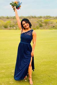 New Design Deep Blue Chiffon Bridesmaid Dresses One Shoulder Prom Dress for Wedding Party Custom Made