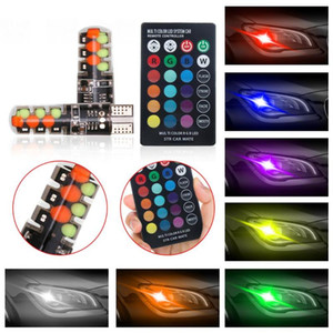 Car Led Flash Light t10 w5w Rgb Led Bulb 12smd Cob Canbus 194 168 With Remote Controller Flash Strobe Car Accessories Light
