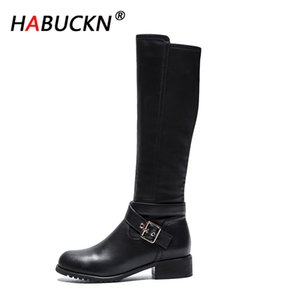 HABUCKN 2020 New fashion boots for women new elegant square black shoes woman high heel solid vintage boots women ladies shoes