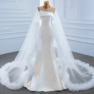 Elegant Satin Mermaid Wedding Dresses with Cape Sheer Jewel Neck Sleeveless Bridal Wedding Gowns robes de mariée
